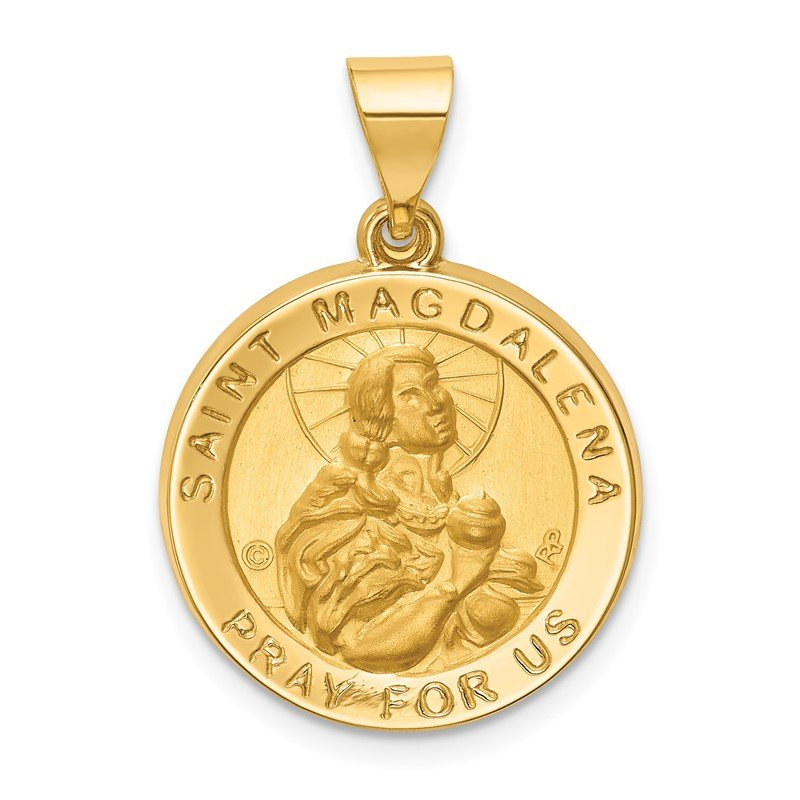 Quality Gold 14k Hollow Polished/Satin Round St. Magdalena Medal