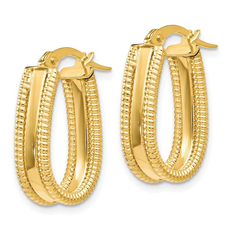 Leslie's Leslie's 14K Polished Textured Oval Hoop Earrings