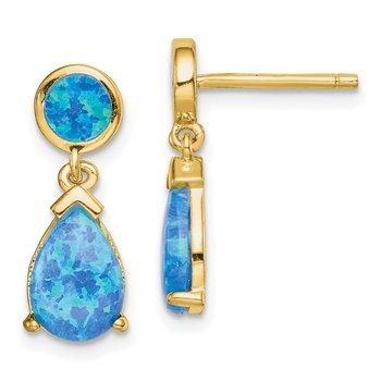 Sterling Silver Gold-tone Created Blue Opal Teardrop Post Dangle Earrings