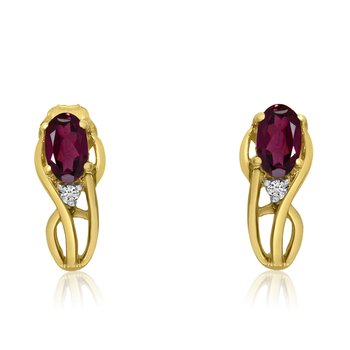 14K Yellow Gold Curved Ruby and Diamond Earrings
