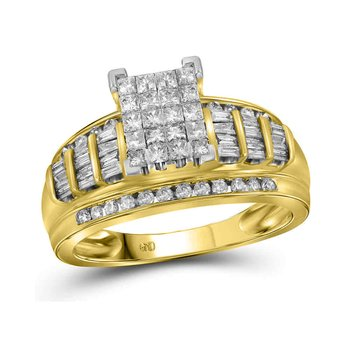 14kt Yellow Gold Womens Princess Diamond Cluster Bridal Wedding Engagement Ring 1.00 Cttw - Size 5