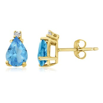 14k Yellow Gold Pear Blue Topaz and Diamond Earrings