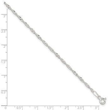 Sterling Silver 2mm Singapore 9in Plus 1in ext. Chain Anklet