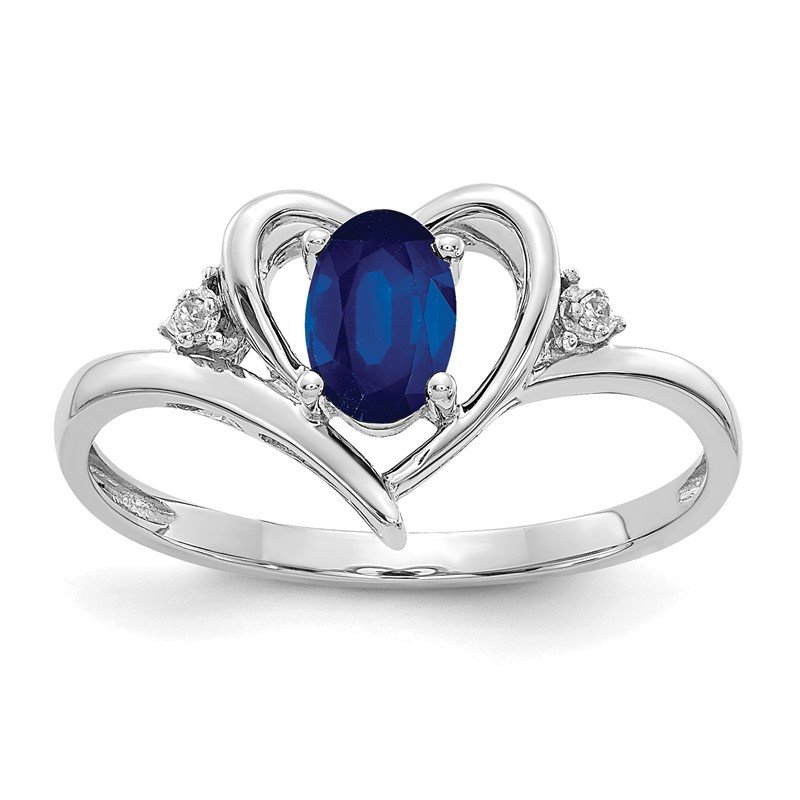 Quality Gold 14k White Gold Sapphire and Diamond Heart Ring