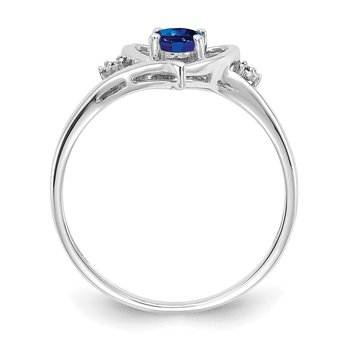 14k White Gold Sapphire and Diamond Heart Ring