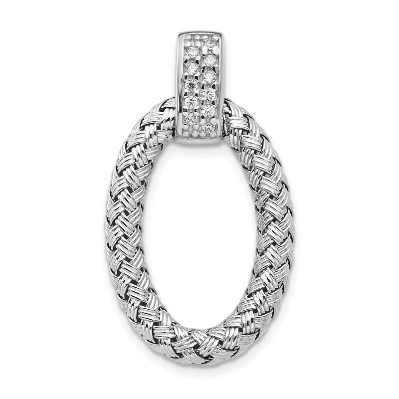 Leslie's Leslie's Sterling Silver Polished with CZ Braided Oval Pendant