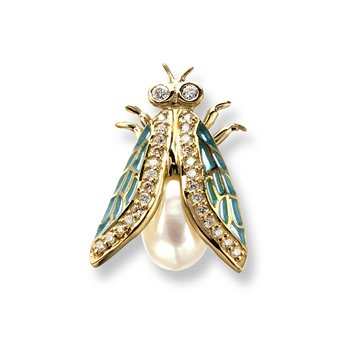 Turquoise Cicada Pendant.18K -Diamond and Freshwater Pearl - Plique-a-Jour