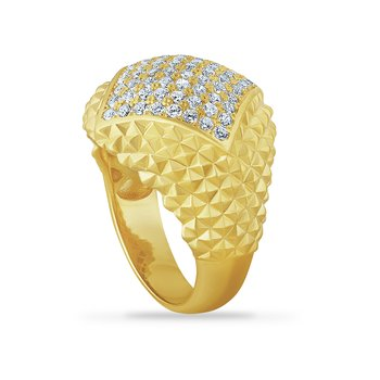 14K domed ring with 64 diamonds 0.90ct 19mm
