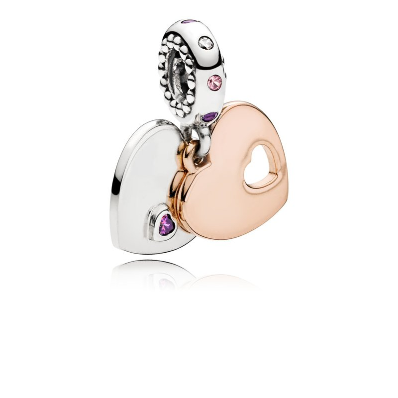 Pandora Part Of My Heart Dangle Charm, Pandora Rose™,  Soft Pink Lilac Crystals Clear Cz
