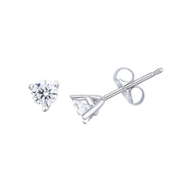 14K White Gold .20 Ct Diamond Martini Setting Stud Earrings