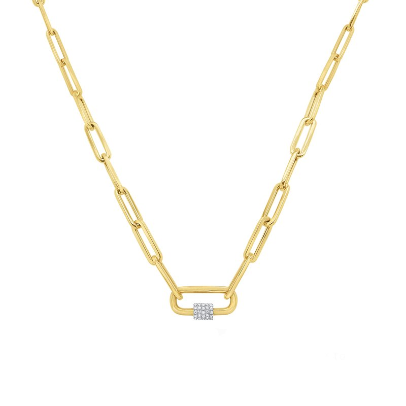 MAZZARESE Fashion 14k Gold and Diamond Charm Holder on Paperclip Chain