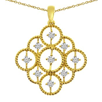 14K Yellow Gold Rope Diamond Pendant