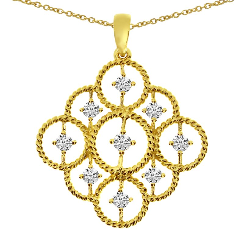 Color Merchants 14K Yellow Gold Rope Diamond Pendant