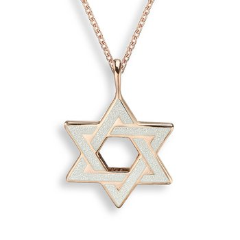 White Star of David Necklace.Rose Gold Plated Sterling Silver