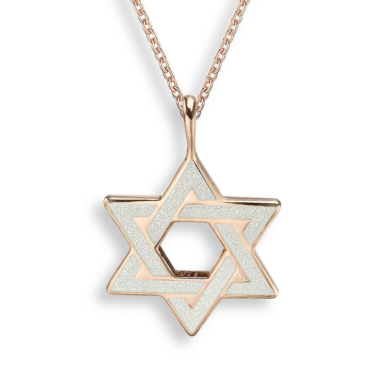 Nicole Barr Designs White Star of David Necklace.Rose Gold Plated Sterling Silver