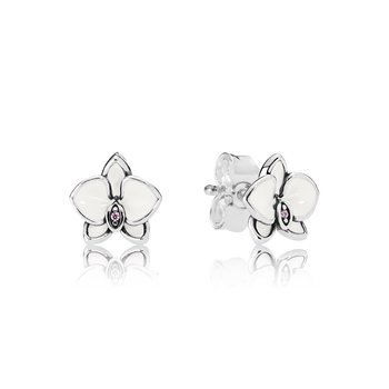 Orchid, White Enamel Clear Cz