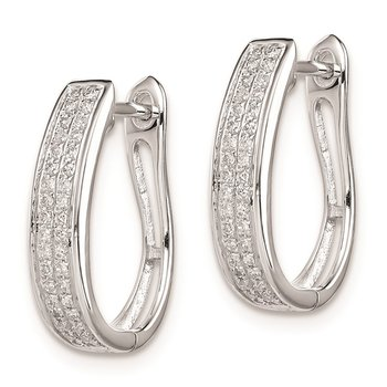 Sterling Silver Rhodium Diam. Oval Hinged Hoop Earrings