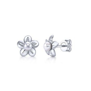 925 Sterling Silver Floral Dainty Cultured Pearl Stud Earrings