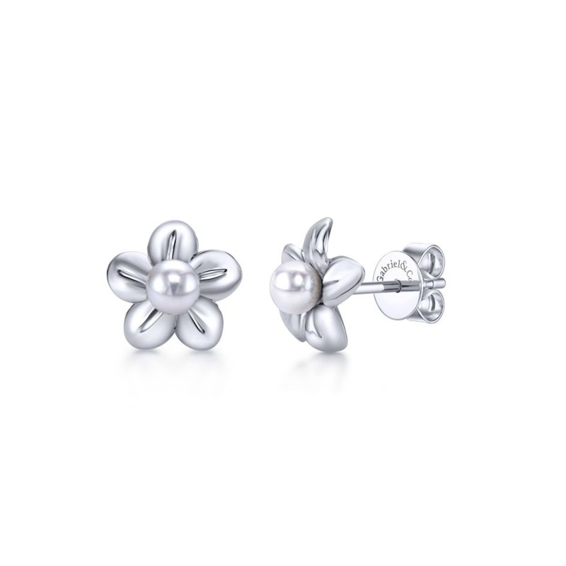 Gabriel Fashion 925 Sterling Silver Floral Dainty Cultured Pearl Stud Earrings