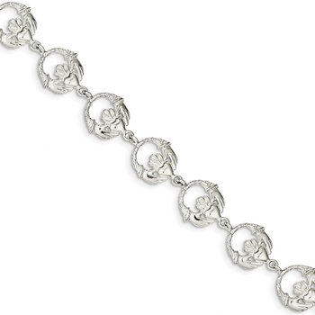 Sterling Silver Polished and Textured Claddagh Link 7 inch Bracelet
