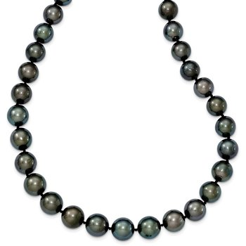 14k WG 9-12mm Semi-round Saltwater Cultured Tahitian Graduated Necklace
