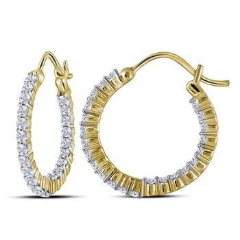 10kt Yellow Gold Womens Round Diamond Inside Outside Hoop Earrings 1.00 Cttw