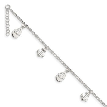 Sterling Silver Polished Boat and Anchor 9in Plus 1in Ext. Anklet