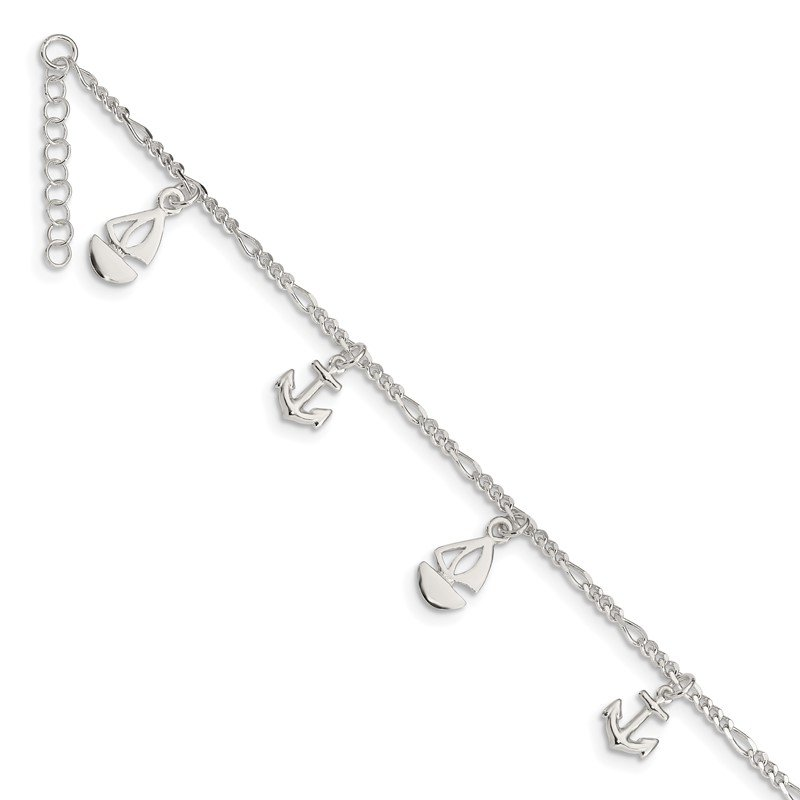 Quality Gold Sterling Silver Polished Boat and Anchor 9in Plus 1in Ext. Anklet