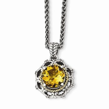 Sterling Silver w/14k Antiqued Citrine and Diamond Necklace