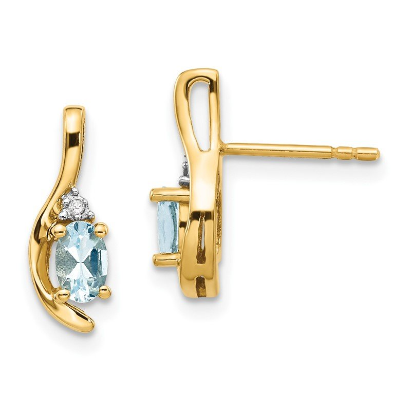 Quality Gold 14k Aquamarine and Diamond Post Earrings