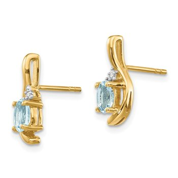 14k Aquamarine and Diamond Post Earrings