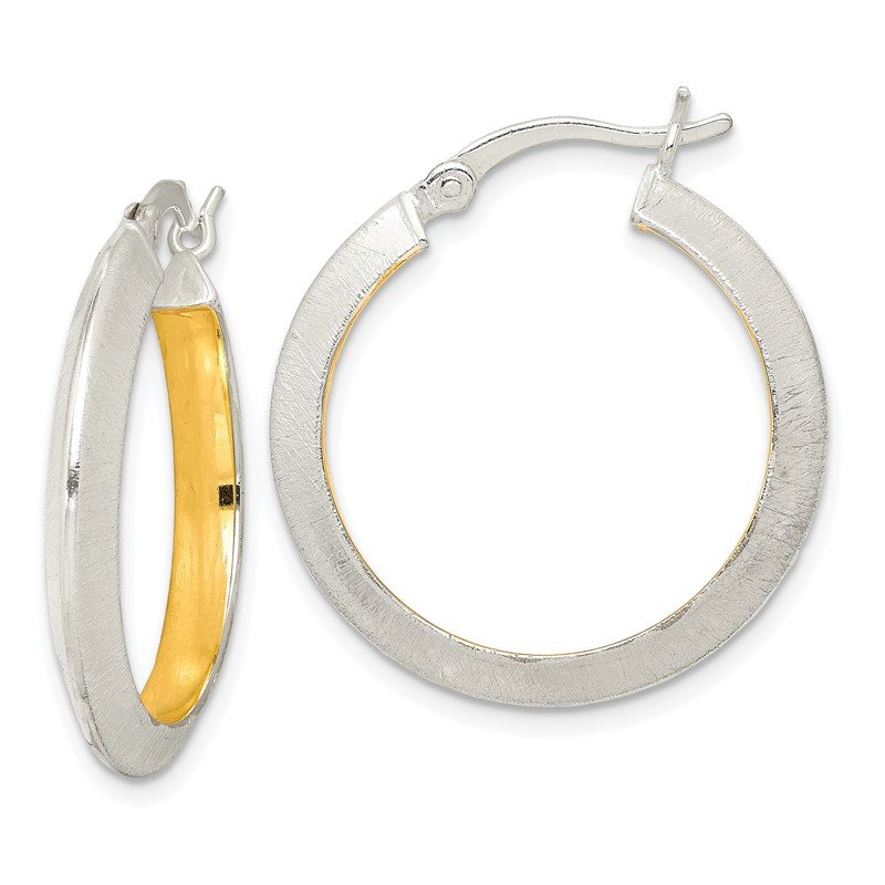 Quality Gold Sterling Silver & Gold Tone Brushed Hoop Earrings