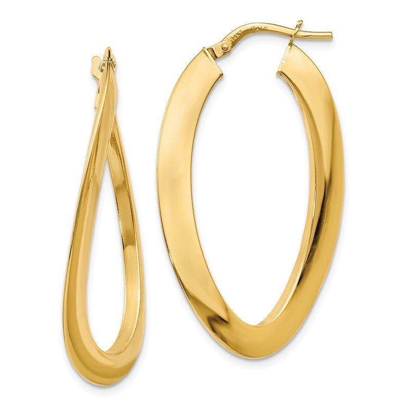 Leslie's Leslie's 14K Polished Twisted Oval Hoop Earrings