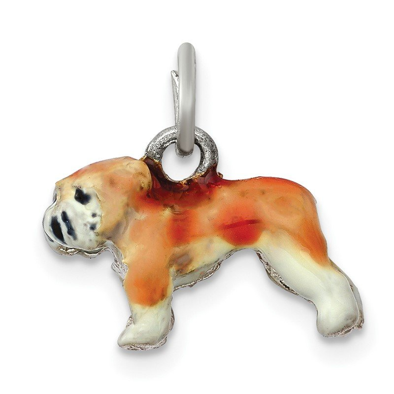 Quality Gold Sterling Silver Enameled Small Bulldog Charm