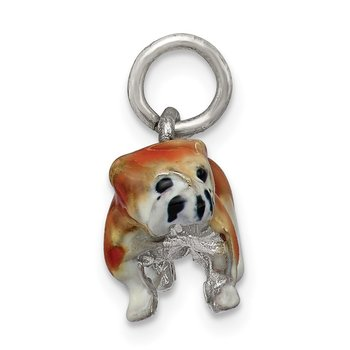 Sterling Silver Enameled Small Bulldog Charm
