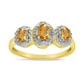 14k Yellow Gold Oval Citrine And Diamond Three Stone Ring