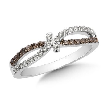 Pave set Cognac and White Diamond Open Bypass Fashion Ring in 14k White Gold, (3/8 ct.tw.)