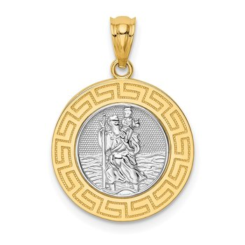 14K w/ Rhodium St. Christopher Medal