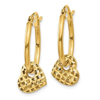 14K Moveable Heart Hoop Earrings