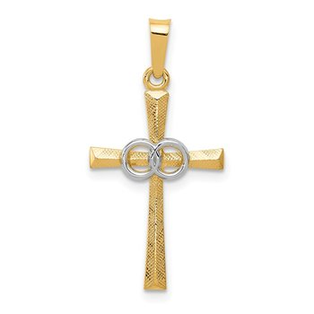 14K Two-tone Textured and Polished Latin Cross w/ Circles Pendant