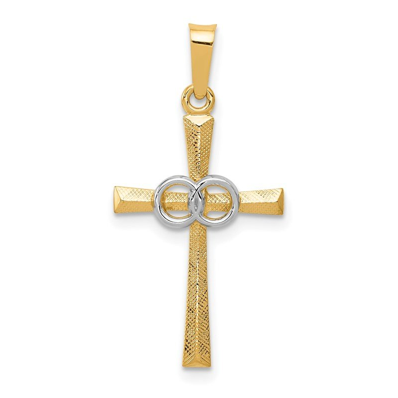 Quality Gold 14K Two-tone Textured and Polished Latin Cross w/ Circles Pendant
