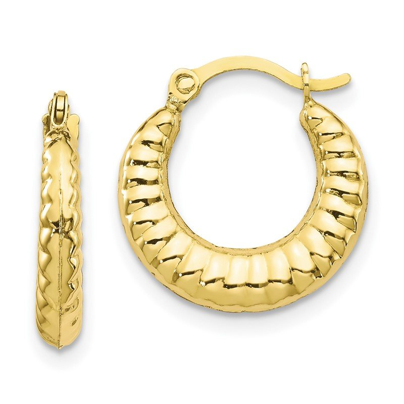 Quality Gold 10K Scalloped Hollow Hoop Earrings