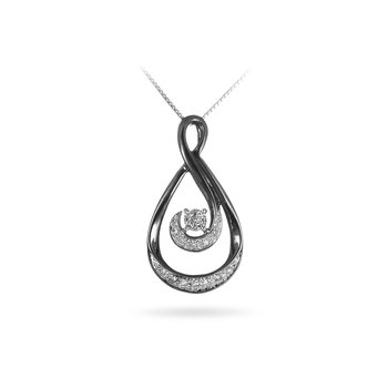 925 SS Diamond Slider Pear Shape Pendant