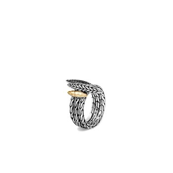 Classic Chain Spear Stackable Ring Set, Silver, 18K, Gemstone