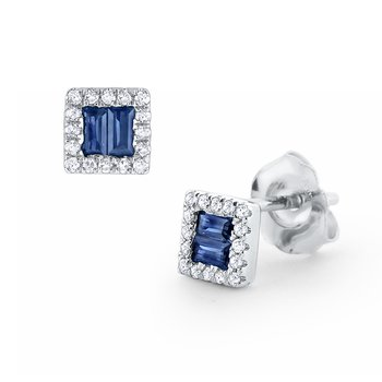 Sapphire & Diamond Stud Earrings Set in 14 Kt. Gold