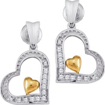 10kt White Gold Womens Round Diamond Two-tone Heart Dangle Earrings 1/10 Cttw