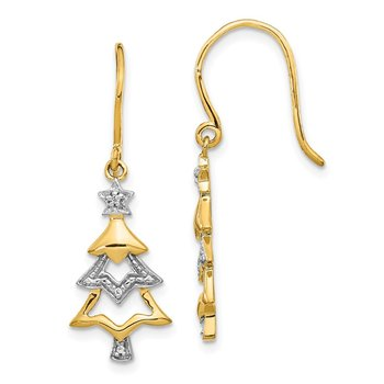 14k and Rhodium Diamond Christmas Tree Dangle Earrings