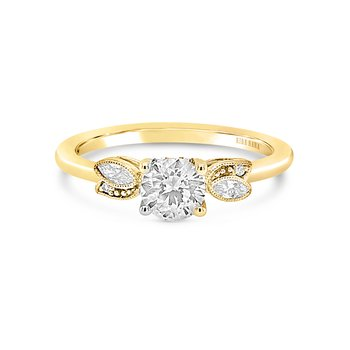 Leaf Diamond Delicate Engagement Ring