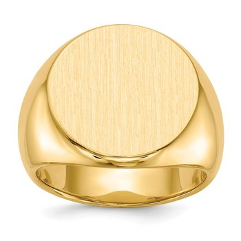 14k 18.0x18.0mm Closed Back Men's Signet Ring