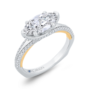 18K Two-Tone Gold Marquise Cut Diamond Engagement Ring with Euro Shank (Semi-Mount)